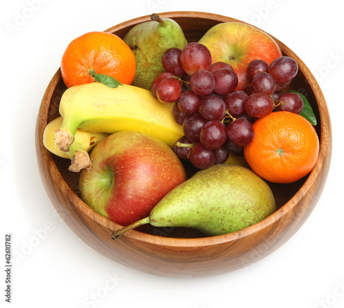 Fresh Fruit in Wooden Bowl