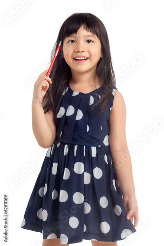 Smiling girl holding pencil isolated
