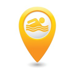 Map pointer with swimmer icon