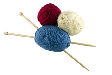 skeins and knitting needles