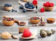 collection of different spices and berry on wooden background
