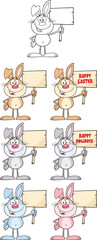 Rabbit Cartoon Character 7. Set Collection
