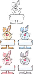 Rabbit Cartoon Character 11. Set Collection
