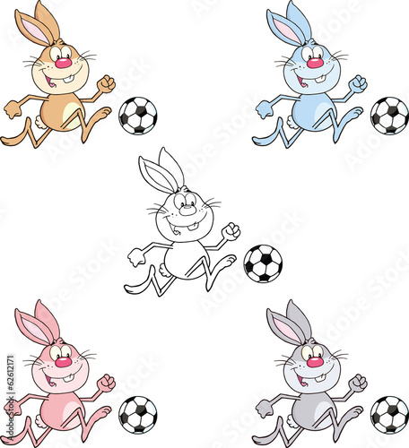 Rabbit Cartoon Character 10. Set Collection