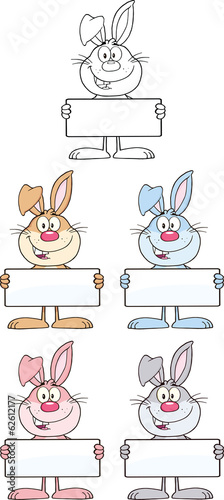 Rabbit Cartoon Character 11. Set Collection