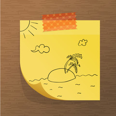 Vectorial sticky note paper with doodles