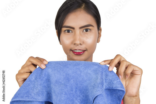 Beautiful woman with a microfiber cloth.