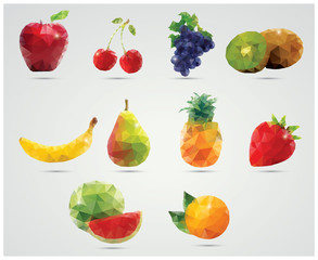 Collection of geometric polygonal fruits, vector
