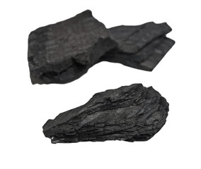 pile charcoal isolated on white background, wood coal