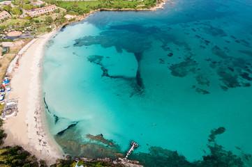 Sardinia, Porto Rotondo: spiaggia Ira (aerial).