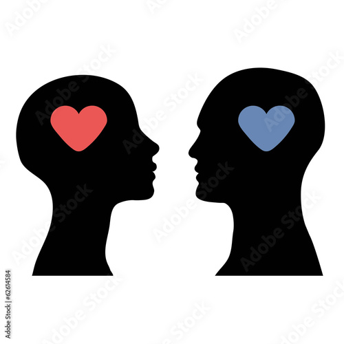 silhouette of the head men and women with heart