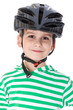 Boy bicyclist with helmet
