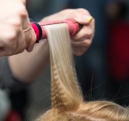 wrap curling hair in a beauty salon