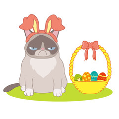 Easter card with a basket and a cat