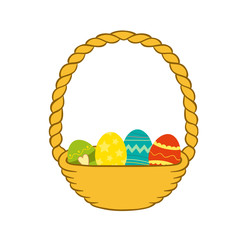 Illustration of an Easter Basket Filled with Easter Eggs