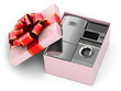 Home appliance in gift box with ribbons and bow.