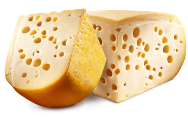 Two pieces of Emmental cheese head.
