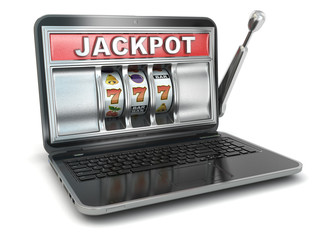 Jackpot. Online gambling concept. Laptop slot machine.