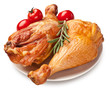 Smoked chicken with tomatoes.