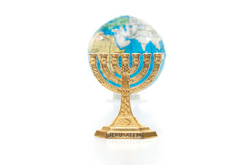 Menorah and globe
