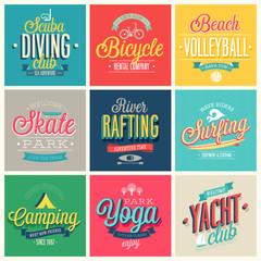 Summer sports set - labels and emblems.