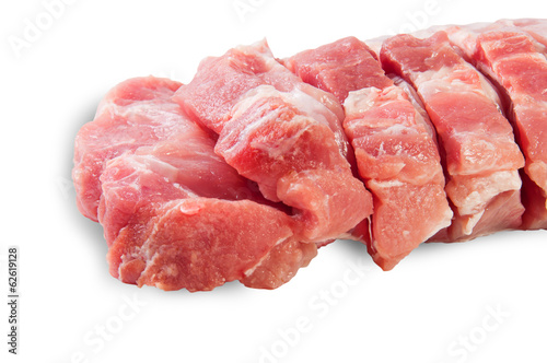 Raw Sliced Pork Meat Closeup