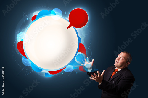 funny businessman presenting abstract modern speech bubble copy