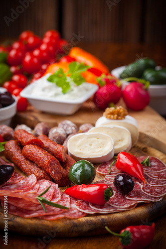 Raw snack with antipasti