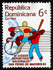 Postage stamp Dominican Republic 1983 Bicycling, Boxing, Basebal