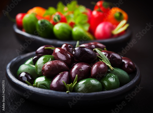 Variation of olives with raw snack vegetable