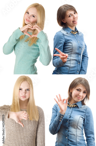 girl shows gesture bad, good