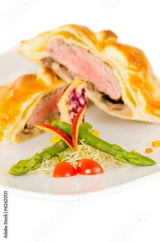 Beef Wellington with salad