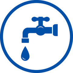 blue icon with faucet and drop