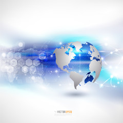 World network communication and technology background, vector