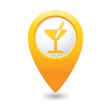 Map pointer with cocktail icon