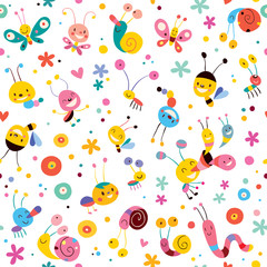 butterflies beetles snails bees flowers pattern