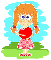 Funny girl with heart in her hands