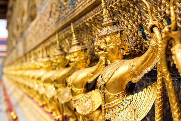 Golden statues in Wat Po, Thailand