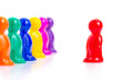 Leader and the team. Colorful toy people group