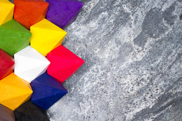 Colorful diamond shaped wax crayons