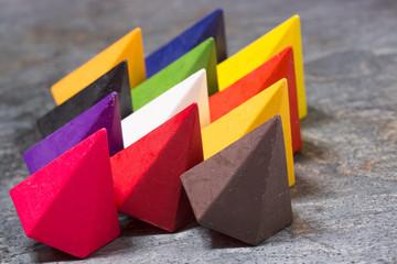 Vibrant multicolored wax crayons