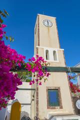Greece Santorini island in cyclades, wide angle Church view