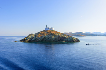 Greece Kea Island in Cyclades panoramic seascape view of sea at