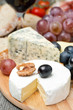 Camembert, blue cheese, grapes and walnuts