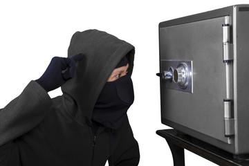 Burglar tries to open a safe deposit box