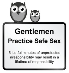 comical practice safe sex sign