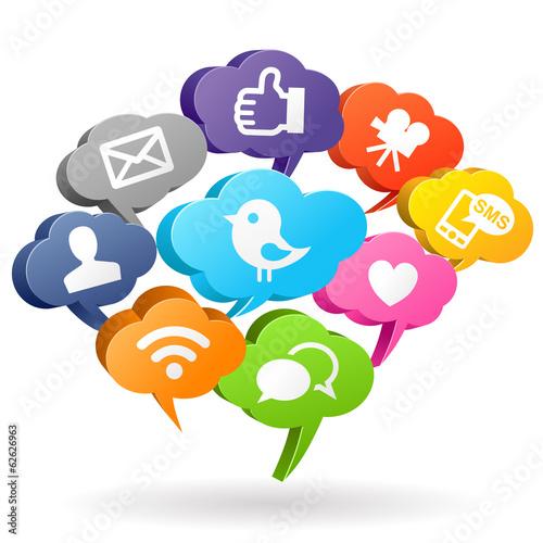 Zdjęcia na płótnie, fototapety, obrazy : Social media Speech Bubbles