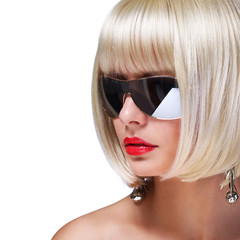 Fashion Blonde Model with Sunglasses. Glamorous woman