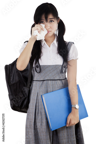Female student is crying