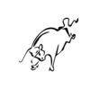 Line drawing of a bull on white background